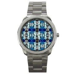 Royal Blue Abstract Pattern Sport Metal Watches by Costasonlineshop