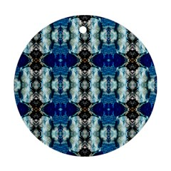 Royal Blue Abstract Pattern Round Ornament (two Sides)  by Costasonlineshop