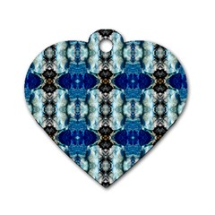 Royal Blue Abstract Pattern Dog Tag Heart (two Sides)