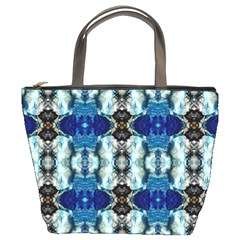 Royal Blue Abstract Pattern Bucket Bags by Costasonlineshop