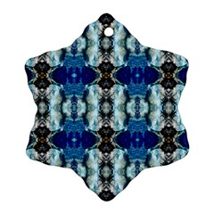 Royal Blue Abstract Pattern Snowflake Ornament (2 Side) by Costasonlineshop