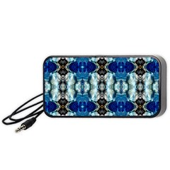 Royal Blue Abstract Pattern Portable Speaker (Black)  by Costasonlineshop