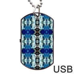 Royal Blue Abstract Pattern Dog Tag Usb Flash (two Sides)  by Costasonlineshop