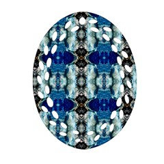 Royal Blue Abstract Pattern Oval Filigree Ornament (2 Side)