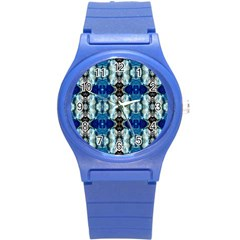 Royal Blue Abstract Pattern Round Plastic Sport Watch (s) by Costasonlineshop