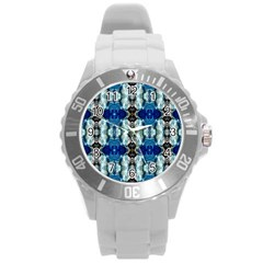 Royal Blue Abstract Pattern Round Plastic Sport Watch (l) by Costasonlineshop