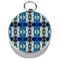 Royal Blue Abstract Pattern Silver Compasses