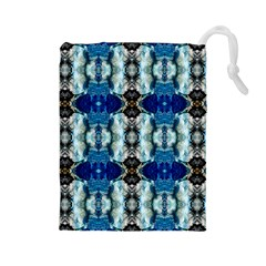 Royal Blue Abstract Pattern Drawstring Pouches (large)
