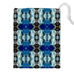 Royal Blue Abstract Pattern Drawstring Pouches (xxl) by Costasonlineshop