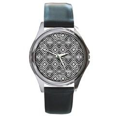 Black White Diamond Pattern Round Metal Watches