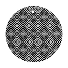Black White Diamond Pattern Ornament (round)