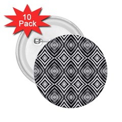 Black White Diamond Pattern 2 25  Buttons (10 Pack)  by Costasonlineshop