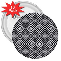 Black White Diamond Pattern 3  Buttons (10 Pack)  by Costasonlineshop
