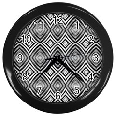 Black White Diamond Pattern Wall Clocks (black) by Costasonlineshop