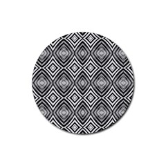 Black White Diamond Pattern Rubber Round Coaster (4 Pack)  by Costasonlineshop