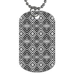 Black White Diamond Pattern Dog Tag (two Sides)
