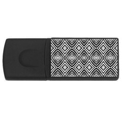 Black White Diamond Pattern Usb Flash Drive Rectangular (4 Gb)