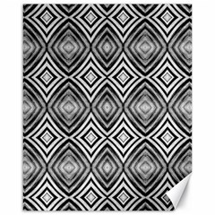 Black White Diamond Pattern Canvas 16  X 20   by Costasonlineshop