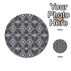 Black White Diamond Pattern Multi Purpose Cards (round)  by Costasonlineshop
