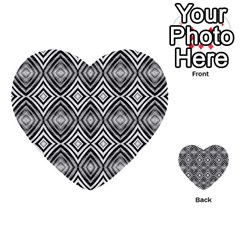 Black White Diamond Pattern Multi Purpose Cards (heart)  by Costasonlineshop