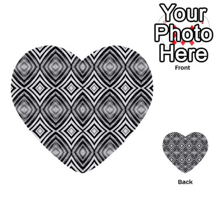 Black White Diamond Pattern Multi-purpose Cards (Heart)
