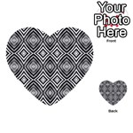 Black White Diamond Pattern Multi-purpose Cards (Heart)  Back 1