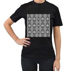 Black White Diamond Pattern Women s T Shirt (black)