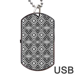 Black White Diamond Pattern Dog Tag Usb Flash (one Side) by Costasonlineshop