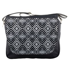 Black White Diamond Pattern Messenger Bags by Costasonlineshop
