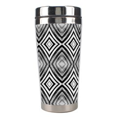Black White Diamond Pattern Stainless Steel Travel Tumblers by Costasonlineshop