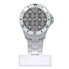 Black White Diamond Pattern Nurses Watches