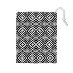 Black White Diamond Pattern Drawstring Pouches (Large)  by Costasonlineshop