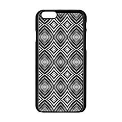 Black White Diamond Pattern Apple Iphone 6/6s Black Enamel Case