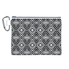 Black White Diamond Pattern Canvas Cosmetic Bag (L) by Costasonlineshop