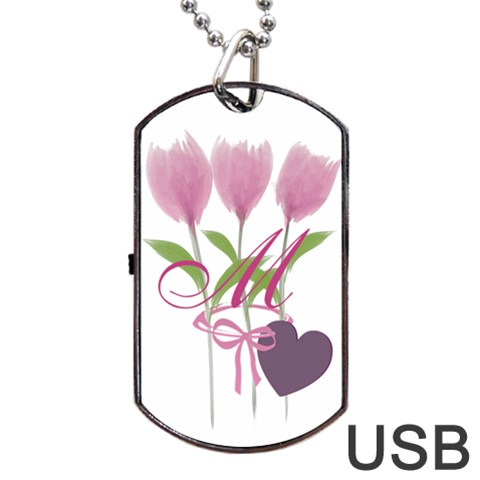 Tulip Love Gardener Florist Pink Bouquet Monogrammed Usb Dog Tag By Lucy   Dog Tag Usb Flash (one Side)   Osnn0vr9g7eu   Www Artscow Com Front