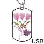 Tulip Love Gardener Florist Pink Bouquet Monogrammed USB Dog Tag - Dog Tag USB Flash (One Side)