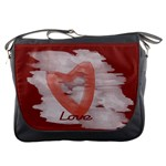 Bright Red Watercolor Heart Love Messenger Bag