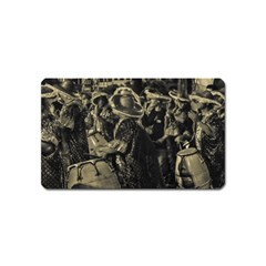 Group Of Candombe Drummers At Carnival Parade Of Uruguay Magnet (name Card) by dflcprints
