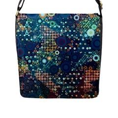 Blue Bubbles Flap Messenger Bag (l)  by KirstenStar