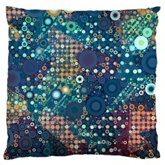 Blue Bubbles Large Flano Cushion Cases (Two Sides)  by KirstenStar