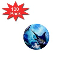 Awersome Marlin In A Fantasy Underwater World 1  Mini Magnets (100 Pack)  by FantasyWorld7