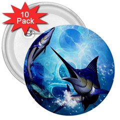 Awersome Marlin In A Fantasy Underwater World 3  Buttons (10 pack)  by FantasyWorld7