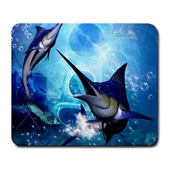 Awersome Marlin In A Fantasy Underwater World Large Mousepads by FantasyWorld7