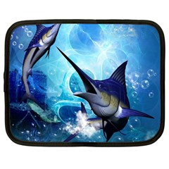 Awersome Marlin In A Fantasy Underwater World Netbook Case (large) by FantasyWorld7