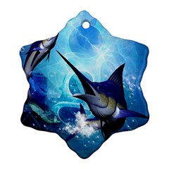 Awersome Marlin In A Fantasy Underwater World Ornament (snowflake)  by FantasyWorld7