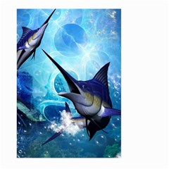 Awersome Marlin In A Fantasy Underwater World Large Garden Flag (two Sides) by FantasyWorld7