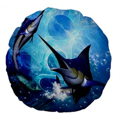 Awersome Marlin In A Fantasy Underwater World Large 18  Premium Round Cushions by FantasyWorld7
