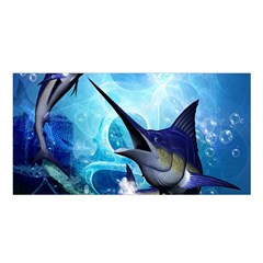 Awersome Marlin In A Fantasy Underwater World Satin Shawl by FantasyWorld7