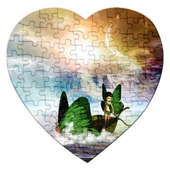 Cute Fairy In A Butterflies Boat In The Night Jigsaw Puzzle (heart) by FantasyWorld7