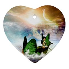 Cute Fairy In A Butterflies Boat In The Night Heart Ornament (2 Sides) by FantasyWorld7